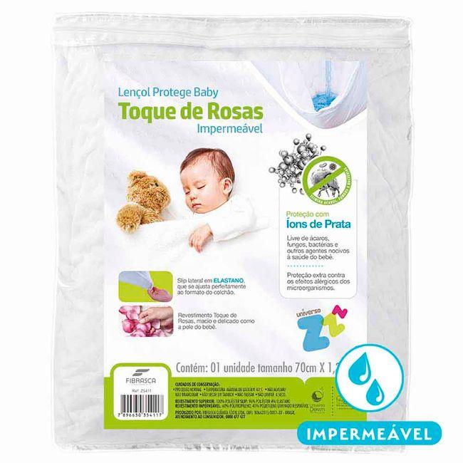 Protetor-de-Colchao-Impermeavel-para-Berco-Fibrasca-Toque-de-Rosas