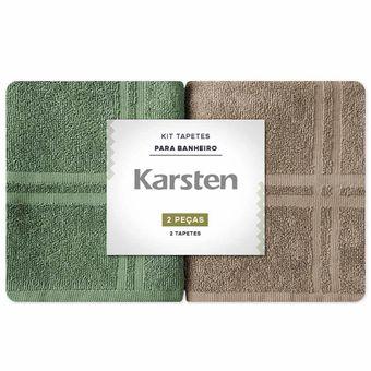 Kit-Toalhas-para-Pes-2-Pecas-Karsten-Metropole-Marrom-Verde