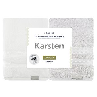 Kit-Toalhas-de-Banho-2-Pecas-Karsten-Unika-Cinza-Branco