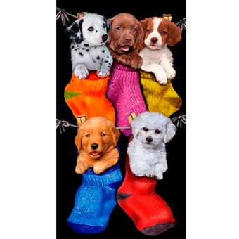 Toalha-de-Praia-Aveludada-Buettner-Puppies-in-the-Stockings