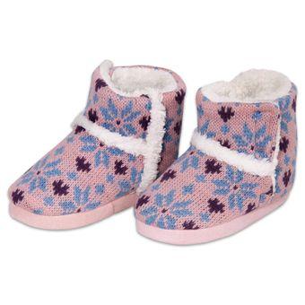 Pantufa-Infantil-Botinha-para-Meninas-Rosa-Tricot-Europa-21-22-|-ShopCama