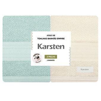 Kit-Toalhas-Banhao-Karsten-2-Pecas-Empire-Verde-Creme-|-Shopcama