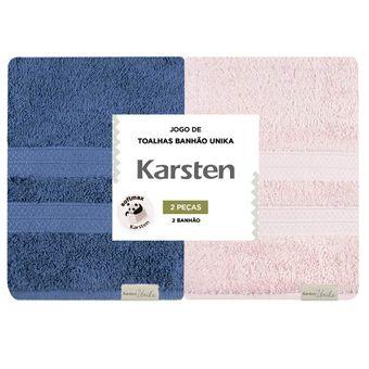Kit-Toalhas-Banhao-Karsten-2-Pecas-Unika-Marinho-Rose-|-Shopcama