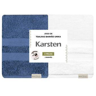 Kit-Toalhas-Banhao-Karsten-2-Pecas-Unika-Marinho-Branca-|-Shopcama