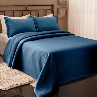 Colcha-Queen-Size-Piquet-Azul-Denin-Becadecor- -Shopcama