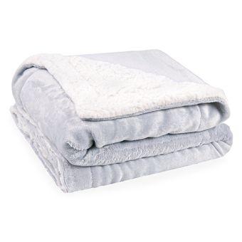 Cobertor-para-Bebe-Dupla-Face-com-Sherpa-Sultan-110-x-90cm-400-gm²---Cinza-Claro-|-Shopcama
