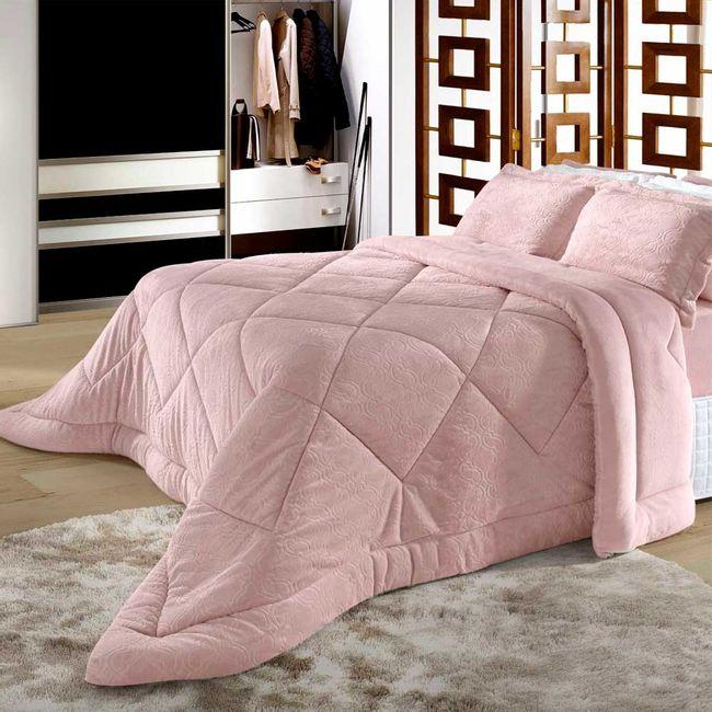 Edredom-Casal-Plush-Alto-Relevo-BBC-Textil-Rosa-Cor-302