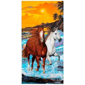 Toalha-de-Praia-Aveludada-Buettner-Two-Horses-