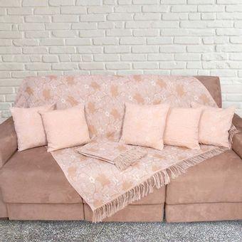 Kit-Manta-para-Sofa-3-e-2-Lugares---5-Almofadas-Mel-Floral-Imperial---Izaltex