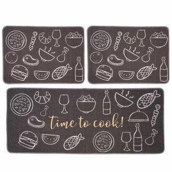 Jogo-de-Tapetes-para-Cozinha-3-Pecas-Jolitex-Gourmet-Time-To-Cook