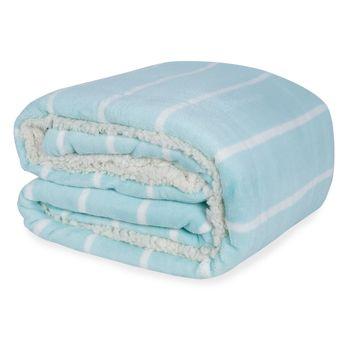 Cobertor-Casal-Dupla-Face-Hedrons-Plush-e-Sherpa-Verde-Agua-180x235cm