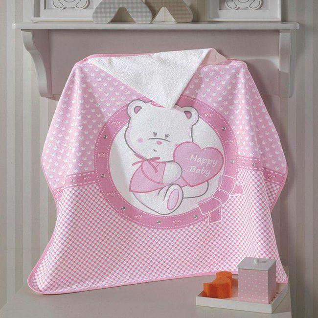 Toalha-de-Banho-para-Bebe-com-Capuz-Dohler-Happy-Baby-Rosa