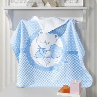 Toalha-de-Banho-para-Bebe-com-Capuz-Dohler-Happy-Baby-Azul