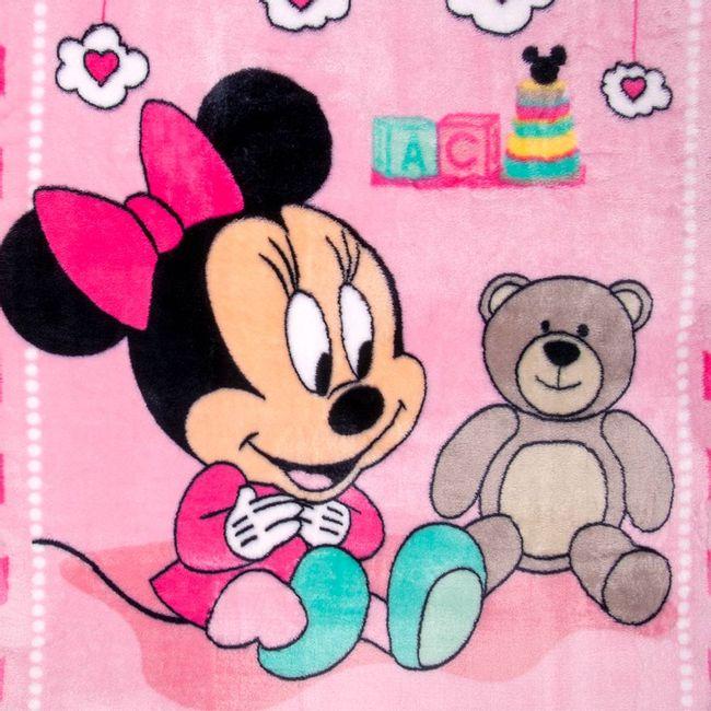 Cobertor-Bebe-Raschel-Minnie-Surpresa-Rosa-