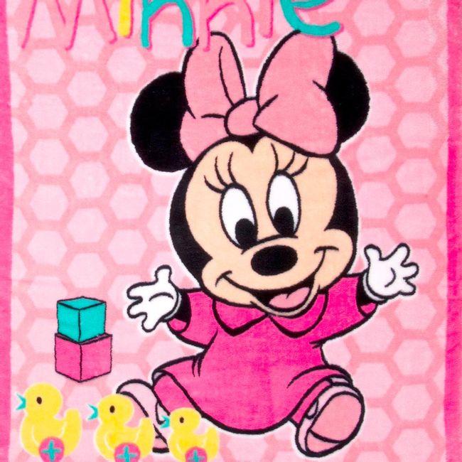 Cobertor-Bebe-Raschel-Minnie-Patinho-Rosa-
