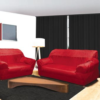 Capa-para-Sofa-3-e-2-Lugares-21-Elasticos-Vermelha-Alteza-Light---Izaltex