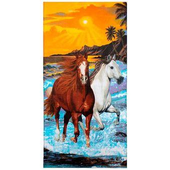 Toalha-de-Praia-Aveludada-Buettner-Two-Horses