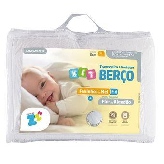 Kit-Protetor-de-Colchao-Impermeavel-para-Berco-e-Travesseiro-Fibrasca--Favinhos-de-Mel