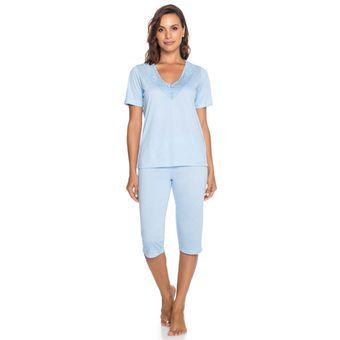 Pijama-Feminino-Capri-Manga-Curta-Azul-Senilha-Ref-6276--M-
