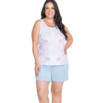 Pijama-Feminino-Shorts-e-Regata-Azul-Malha-Senilha-Ref-6281--P-