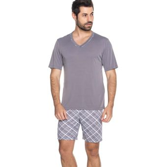 Pijama-Masculino-Shorts-e-Camiseta-Cinza-Liganete-Senilha-Ref-6285--P-