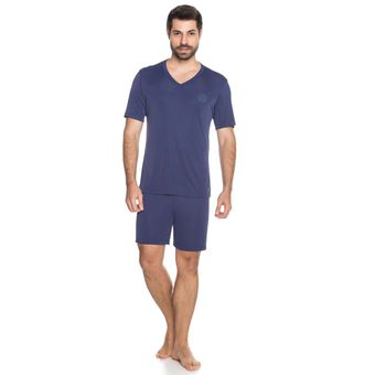 Pijama-Masculino-Shorts-e-Camiseta-Marinho-Liganete-Senilha-Ref-6286--P-