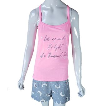 Pijama-Feminino-Alcas-e-Shorts-Rosa-Neon-M-Pzama-Ref-040039