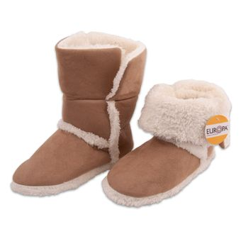 Pantufa-Adulto-Bota-com-Forro-Sherpa-Creme-Europa-34-35