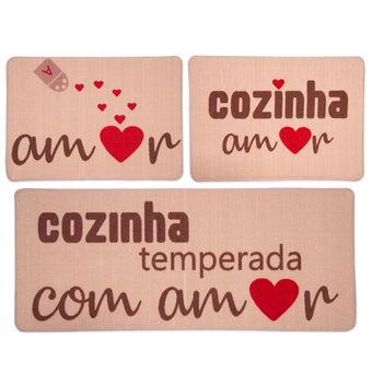 Jogo-de-Tapetes-para-Cozinha-3-Pecas-Jolitex-Gourmet-Amor