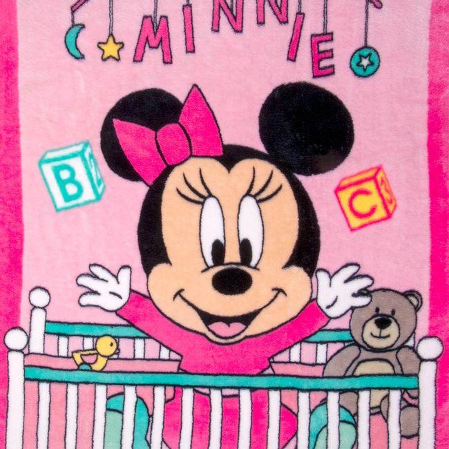 Cobertor-Bebe-Raschel-Minnie-Bercinho-Rosa