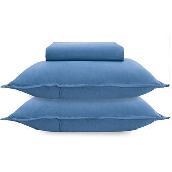 Jogo-de-Cama-Queen-Size-Bouton-Malha-3-Pecas-Azul-Marinho