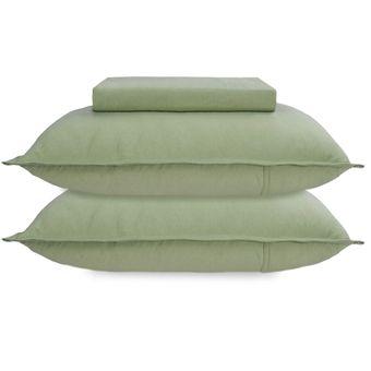 Jogo-de-Cama-Queen-Size-Bouton-Malha-3-Pecas-Verde-Musgo