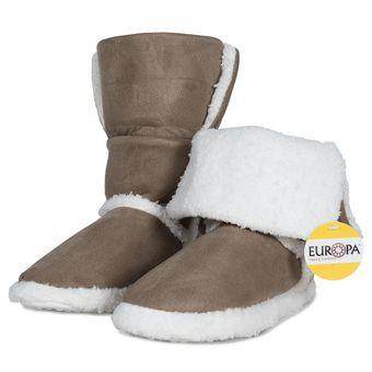 Pantufa-Adulto-Bota-com-Forro-Sherpa-Marrom-Europa-34-35