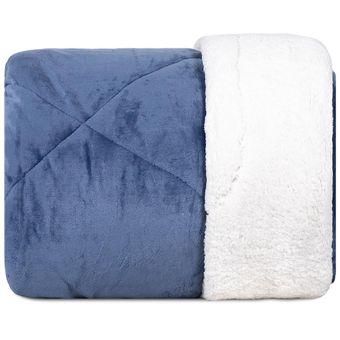 Edredom-Queen-Size-Dupla-Face-Hedrons-Plush-e-Sherpa-Azul-Indigo