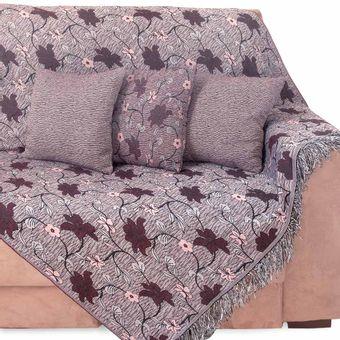Kit-Manta-para-Sofa-3-e-2-Lugares---5-Almofadas-Bordo-Floral-Imperial---Izaltex