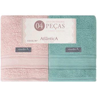 Jogo-de-Toalhas-Banhao-4-Pecas-Atlantica-Alpha-Rosa-Verde-500-g-m²