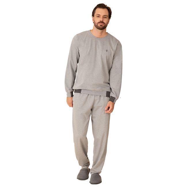 Pijama-Masculino-Manga-Longa-com-Calca-Pzama-Moletinho-Mescla--M-