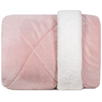 Edredom-Queen-Size-Dupla-Face-Hedrons-Plush-e-Sherpa-Liso-Rosa-Cha