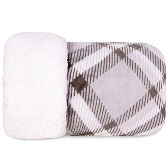 Cobertor-Queen-Size-Dupla-Face-Hedrons-Plush-Sherpa-Xadrez-Taupe