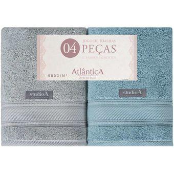 Jogo-de-Toalhas-Banhao-4-Pecas-Atlantica-Alpha-Azul-Cinza-500-g-m²