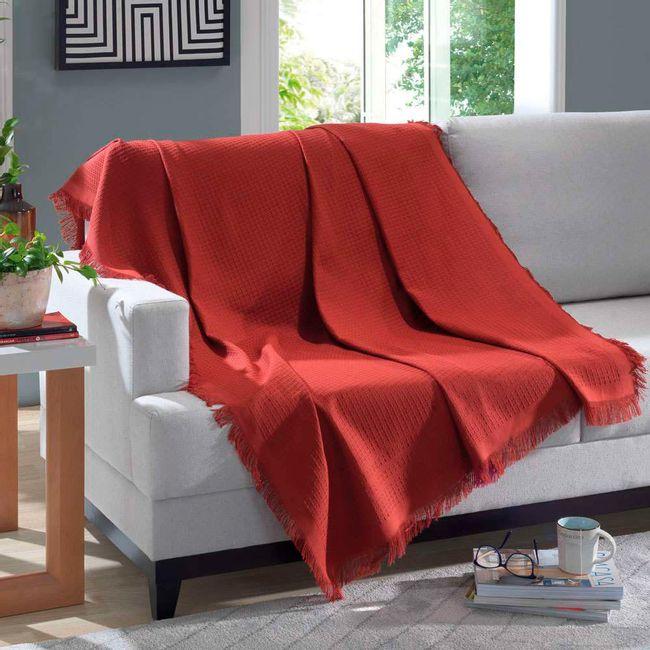 Manta-para-Sofa-3-Lugares-Algodao-Dohler-Marrocos-150x120cm-Vermelha