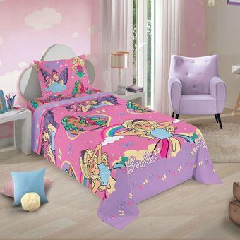 Jogo-de-Cama-Infantil-Barbie-Reinos-Magicos-3-Pecas-Lepper-