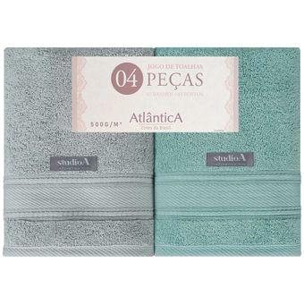 Jogo-de-Toalhas-Banhao-4-Pecas-Atlantica-Alpha-Verde-Cinza-500-g-m²