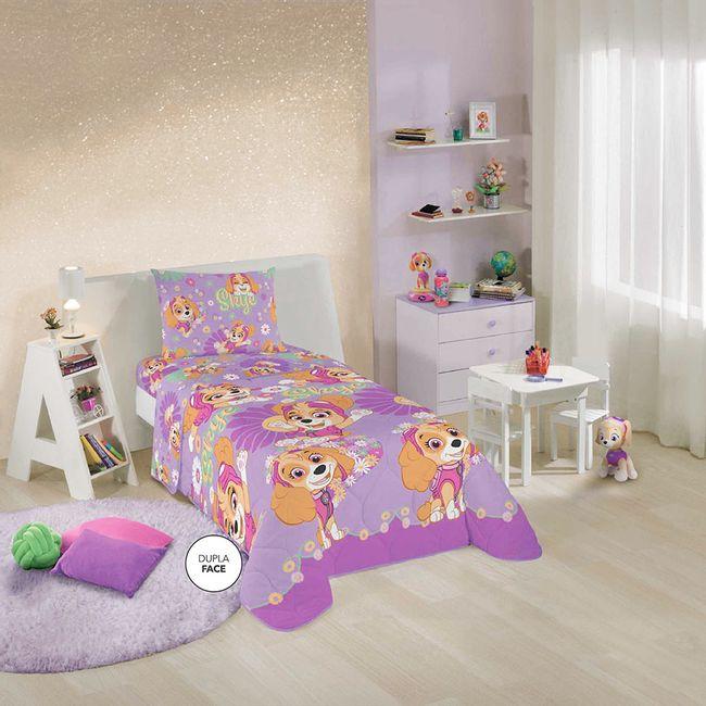 Edredom-Infantil-Dupla-Face-Patrulha-Canina-Meninas-Lepper