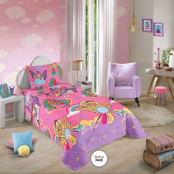Edredom-Infantil-Dupla-Face-Barbie-Reinos-Magicos-Lepper