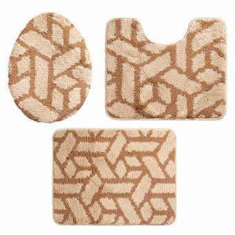 Jogo-de-Tapetes-para-Banheiro-3-Pecas-Jolitex-Absolut-Bricks-Caramelo